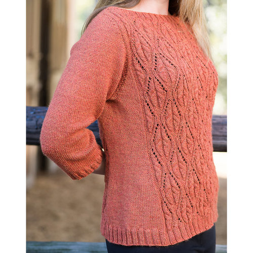 Vermont Fiber Designs 191 Top-Down Cable and Lace Boatneck Pullover PDF -  ()