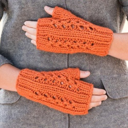 Vermont Fiber Designs Double Lace Rib Fingerless Mitts PDF -  ()