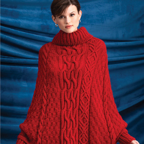 Vogue Knitting Cabled Poncho Kit - Red - Model (1)