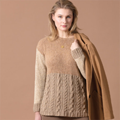 "Vogue Knitting Colorblock Cabled Pullover Kit - 35"" (1)"