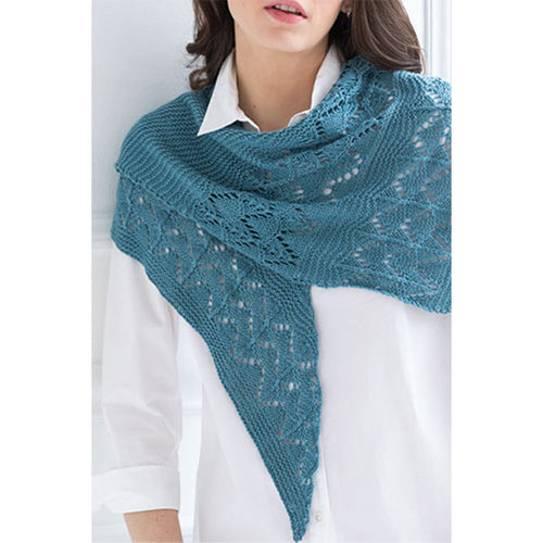 Vogue Knitting Garter and Lace Shawl Kit - Whipple Blue - Model (01)