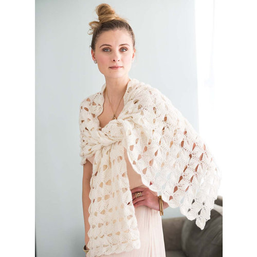 Vogue Knitting Leaf Motif Wrap Kit - Natural - Model (01)