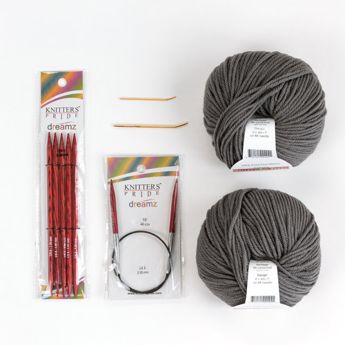 WEBS Basic Hat Project Knitting Kit - Steel Gray (01)