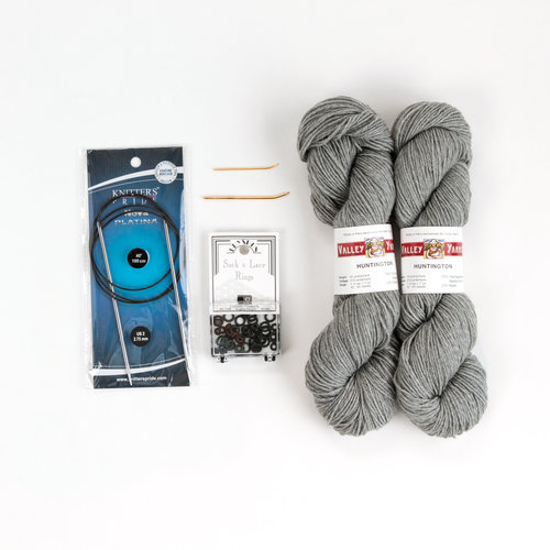 WEBS Basic Sock Project Knitting Kit - Circular Needles with Light Gray Heather (01)