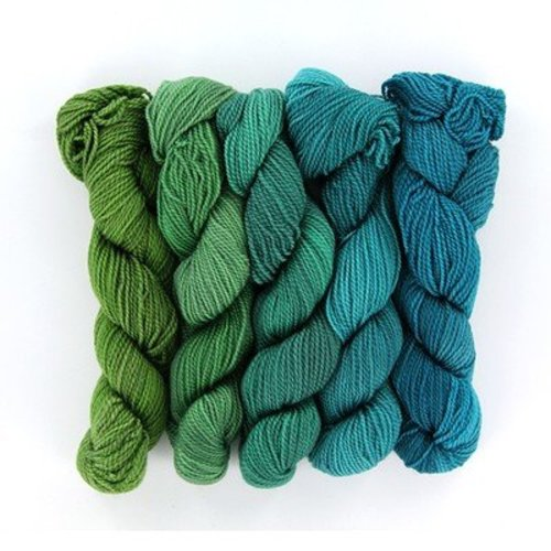 Wonderland Yarns Cheshire Cat 5-Skein Pack - Lime To Turquoise Shadow, #33 (LIMETURQUO)
