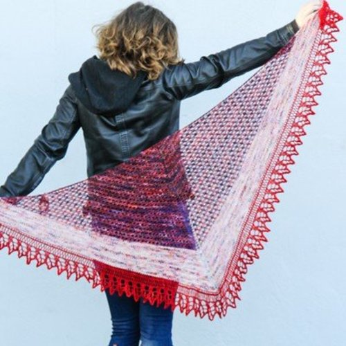 Zen Yarn Garden Roma Shawl Kit in Serenity Silk + - Fire Red-Silvermoon (FIRERED)