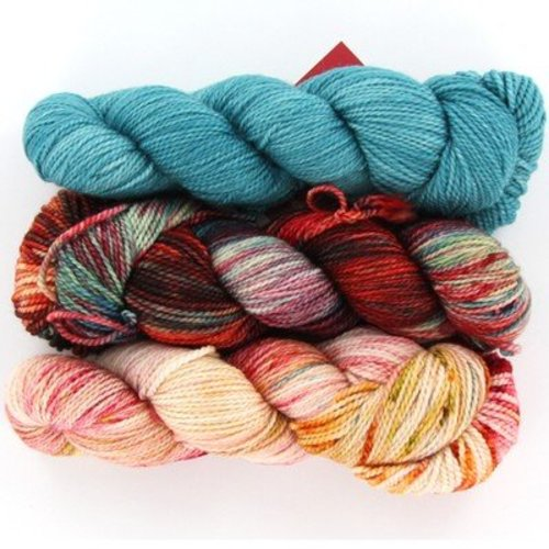 Zen Yarn Garden Treble Clef Shawl Kit in Serenity DK - Frosted Teal-Blood Orange (FROSTEDTEA)